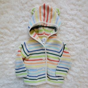 NWOT Baby Gap Button-up Sweater with Hood 6-12 Mo.